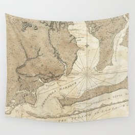 Vintage Map of Pensacola Florida (1780) Wall Tapestry