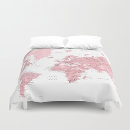 Light pink, muted pink and dusty pink watercolor world map with cities Duvet Cover