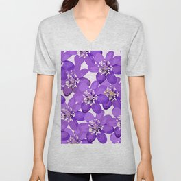 Purple wildflowers on a white background - spring atmosphere Unisex V-Neck