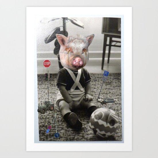 PigBaby Collage Art Print