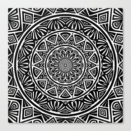 Black and White Simple Simplistic Mandala Design Ethnic Tribal Pattern Canvas Print