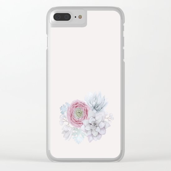 My mexican pastel pink succulent garden Clear iPhone Case