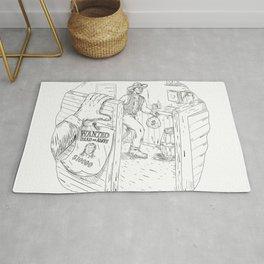 Cowboy Robbing Saloon Drawing Rug