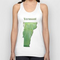 vermont Tank Tops featuring Vermont Map by Roger Wedegis