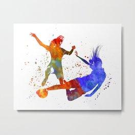 Women soccer players 02 in watercolor Metal Print