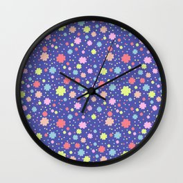Spring Floral Blue Wall Clock