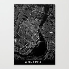 Montreal Black Map Canvas Print