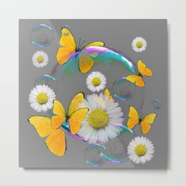 YELLOW BUTTERFLIES  DAISIES & SOAP BUBBLES GREY COLOR Metal Print