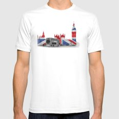 Big Ben, London Bus and Union Jack Flag White Mens Fitted Tee MEDIUM