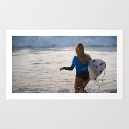 Alana Blanchard, Surfing during world tour of surf Art Print