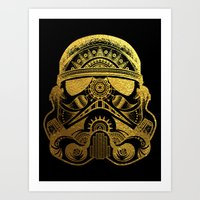 gold foil Art Prints featuring Mandala StormTrooper - Gold Foil by Spectronium - Art by Pat McWain