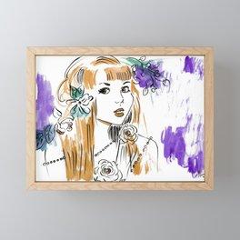 Roses and Pearls - Purple and Orange Palette  Framed Mini Art Print