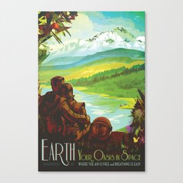 NASA Retro Space Travel Poster #2 - Earth Canvas Print