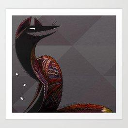 Mexican folk art coyote, Oaxacan style Art Print