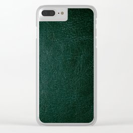 Dark green leather texture abstract Clear iPhone Case