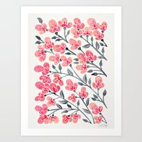 Cherry Blossoms – Pink & Black Palette Art Print