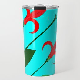 A Garden of Big Red Flowers with Buds with Blue Travel Mug