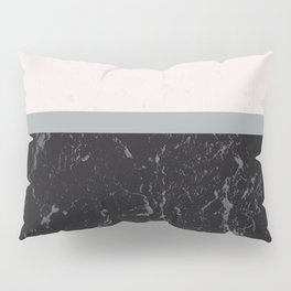 Grey Black Marble Meets Romantic Pink #1 #decor #art #society6 Pillow Sham