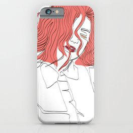 One-Line Art Woman Short Hairstyle 02 iPhone Case