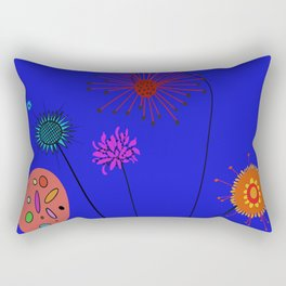 Silly Space-Age Flowers Blue Background Rectangular Pillow