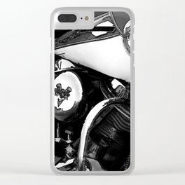 Vintage  Black & White HD Motorcycle Clear iPhone Case