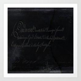 vintage stone throw deep board script texture Art Print