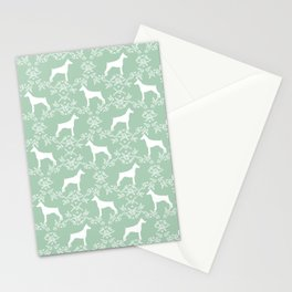Doberman Pinscher floral silhouette mint and white minimal basic dog breed pattern art Stationery Cards