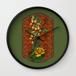 Tiger Lilies & Roses Genie Bottle Wall Clock