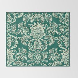Damask vintage in green Throw Blanket