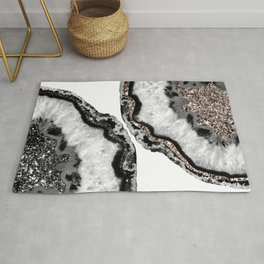 Yin Yang Agate Glitter Glam #1 #gem #decor #art #society6 Rug