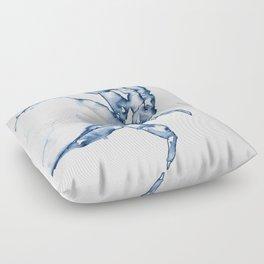 Coastal Crab in Watercolor, Navy Blue (Right Half in Set) Floor Pillow