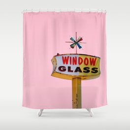 Atomic Pink Starburst - Vintage Googie-Style Sign with Pink Background Shower Curtain