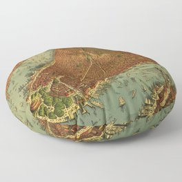 Aerial View of New York by Root & Tinker (1879) Floor Pillow