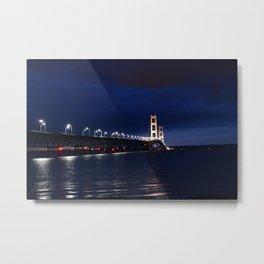 Truck/Rig light show Mackinac Bridge Crossing 2 Metal Print