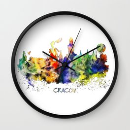 Cracow skyline color Wall Clock
