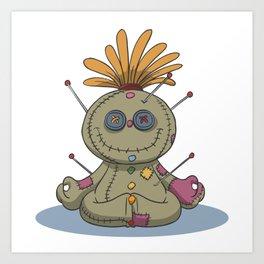 Funny voodoo doll chakra stones yoga lotus Art Print