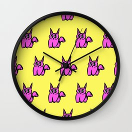 The Pink and Yellow Pussy Cat Parade Wall Clock