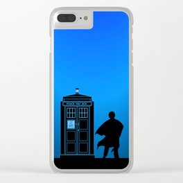 Tardis With The Third Doctor Clear iPhone Case