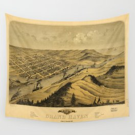 Bird's Eye View of Grand Haven, Michigan (1868) Wall Tapestry