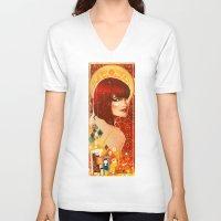 klimt V-neck T-shirts featuring KLIMT GIRL by Lorena Carvalho