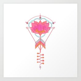 Sacred Lotus:  Pink lotus with geometric symbols on white Art Print
