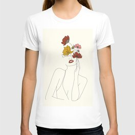 Colorful Thoughts Minimal Line Art Woman with Flowers T-shirt