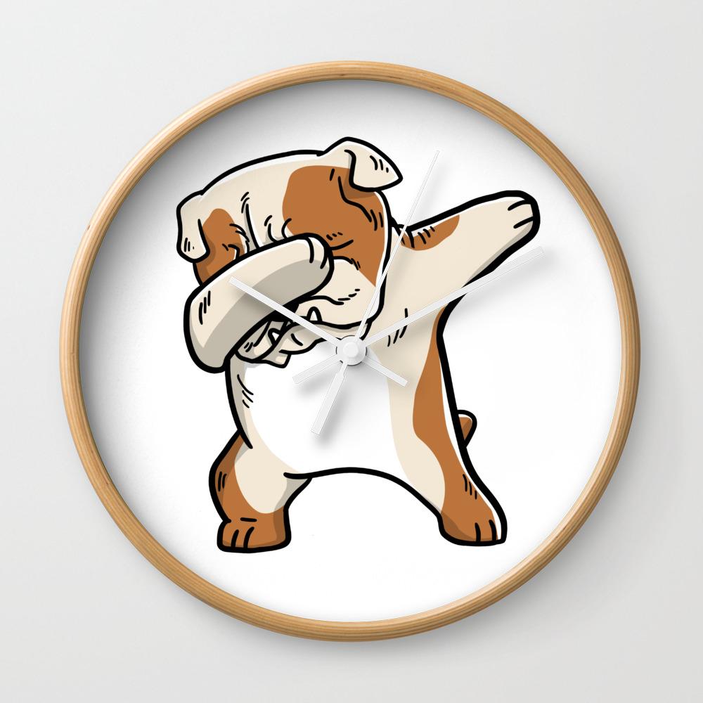 Funny English Bulldog Dabbing Wall Clock By Barktrends Society6
