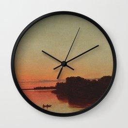 Twilight, Trustom Pond lagoon, Moonstone Beach, South Kingstown coastal Rhode Island landscape painting by John Federick Kensett Wall Clock