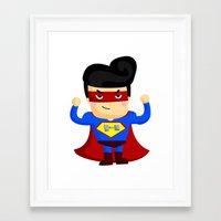 superhero Framed Art Prints featuring Superhero by Inkley