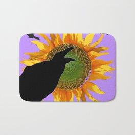 Crows-Lilac Sunflower  Floral Wildlife Art Bath Mat