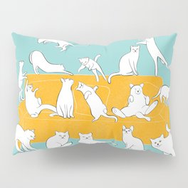Cute Cats on Yellow Couch | Blue Pillow Sham