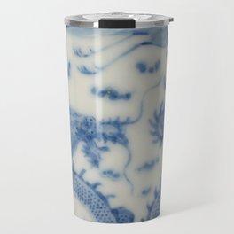 Damask vintage Monaco blue white girly ginger jar floral antique chinese dragon chinoiserie china Travel Mug