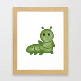 Emoji Caterpillar Plaid Framed Art Print