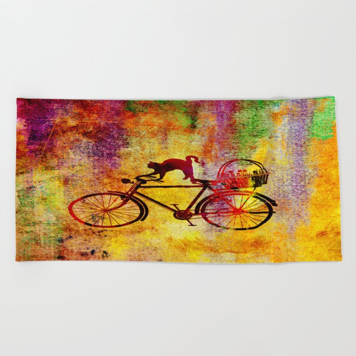 Cat and Bicycle Beach Towel